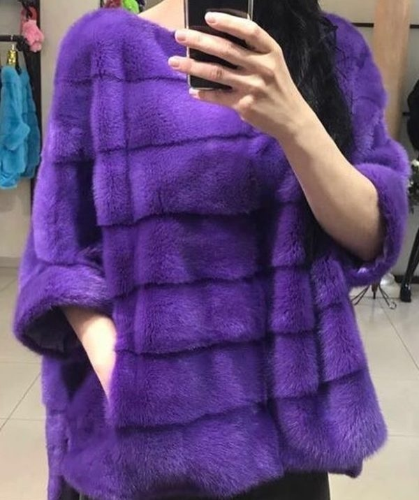 Норковые пончо Фиолетовое пончо из норки