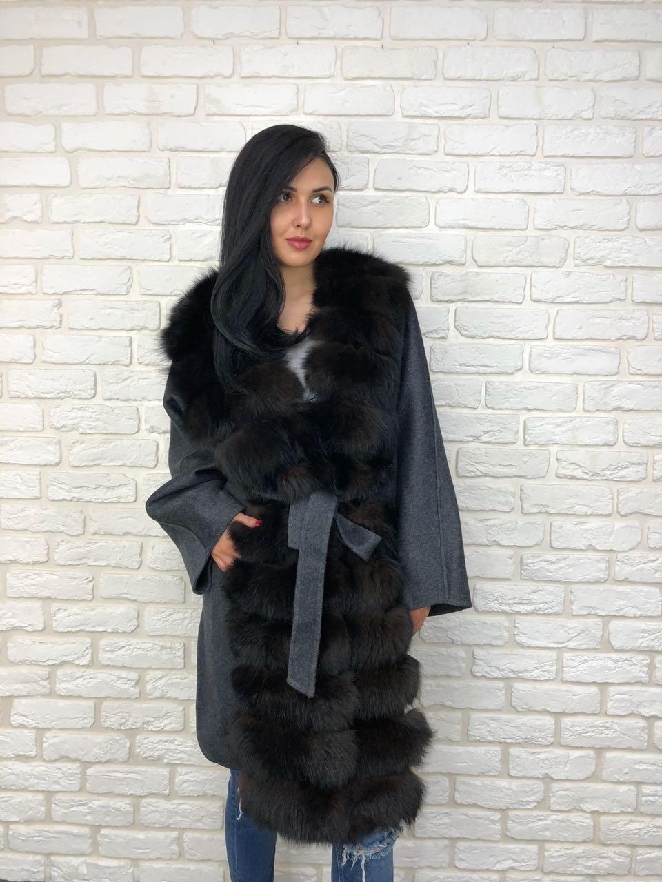 Кашемировые пальто Темно-синее пальто с черным мехом песца и поясом