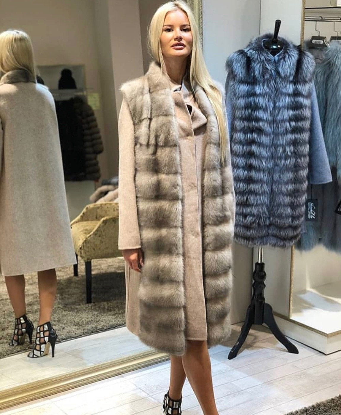 Кашемировые пальто Жилет из норки и кашемировое пальто 2 в 1