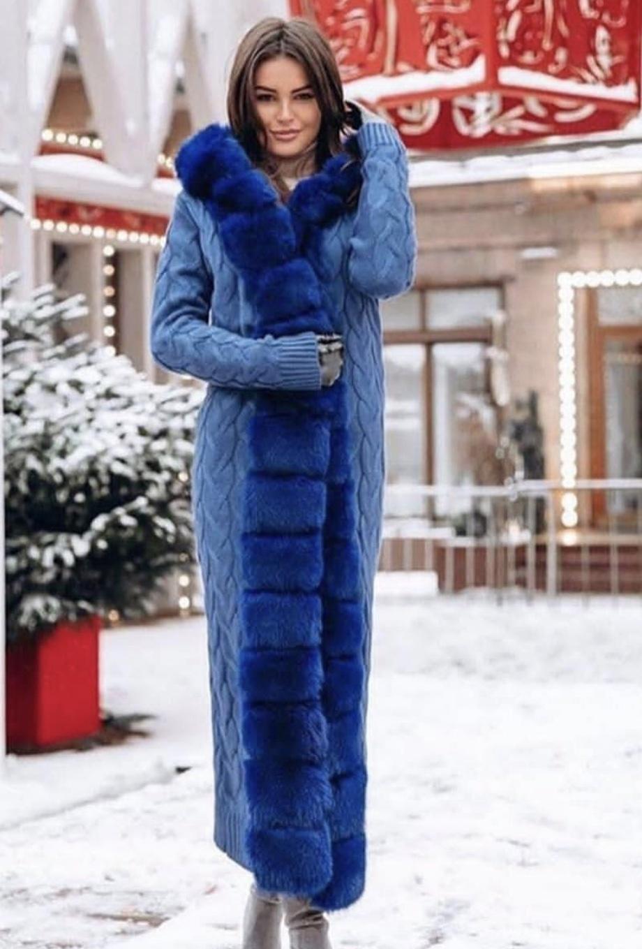 Кашемировые кардиганы с мехом Длинный голубой кардиган с синим мехом финского песца